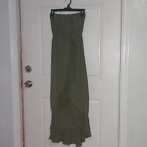 100% Cotton Ruffled Hi-Low Dress